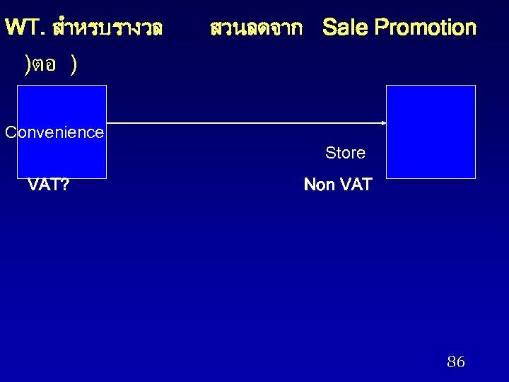 WT. สำหรบรางวล สวนลดจาก Sale Promotion )ตอ ) Convenience Store VAT? Non VAT 86