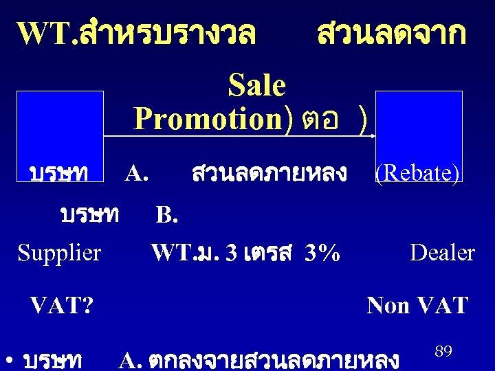 WT. สำหรบรางวล สวนลดจาก Sale Promotion) ตอ ) บรษท Supplier VAT? • บรษท สวนลดภายหลง A.