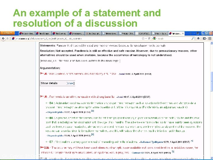 An example of a statement and resolution of a discussion • Is Pandemrix a