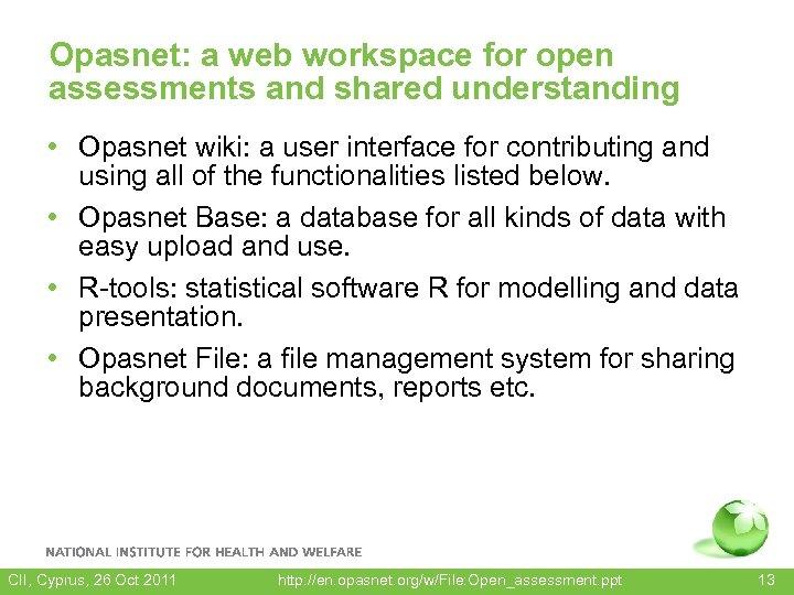 Opasnet: a web workspace for open assessments and shared understanding • Opasnet wiki: a