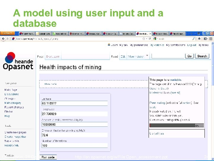 A model using user input and a database CII, Cyprus, 26 Oct 2011 http: