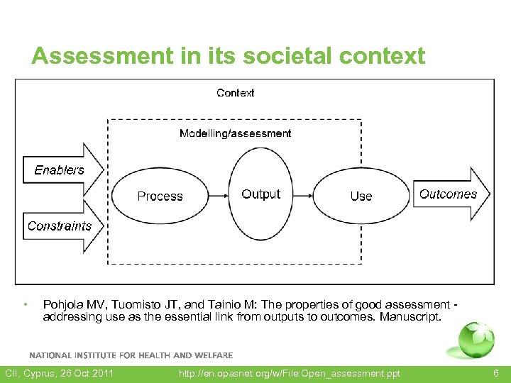 Assessment in its societal context • Pohjola MV, Tuomisto JT, and Tainio M: The