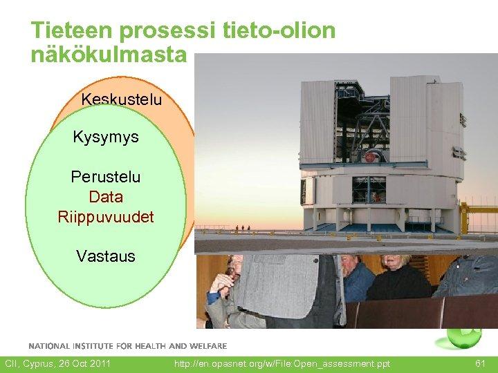 Tieteen prosessi tieto-olion näkökulmasta Keskustelu Kysymys Perustelu Data Riippuvuudet Vastaus CII, Cyprus, 26 Oct