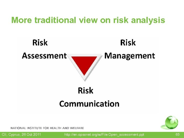 More traditional view on risk analysis CII, Cyprus, 26 Oct 2011 http: //en. opasnet.