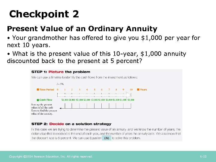 Checkpoint 2 Present Value of an Ordinary Annuity • Your grandmother has offered to