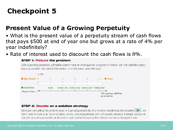 Checkpoint 5 Present Value of a Growing Perpetuity • What is the present value