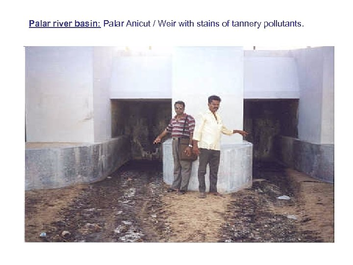 Palar river basin: Palar Anicut / Weir with stains of tannery pollutants.