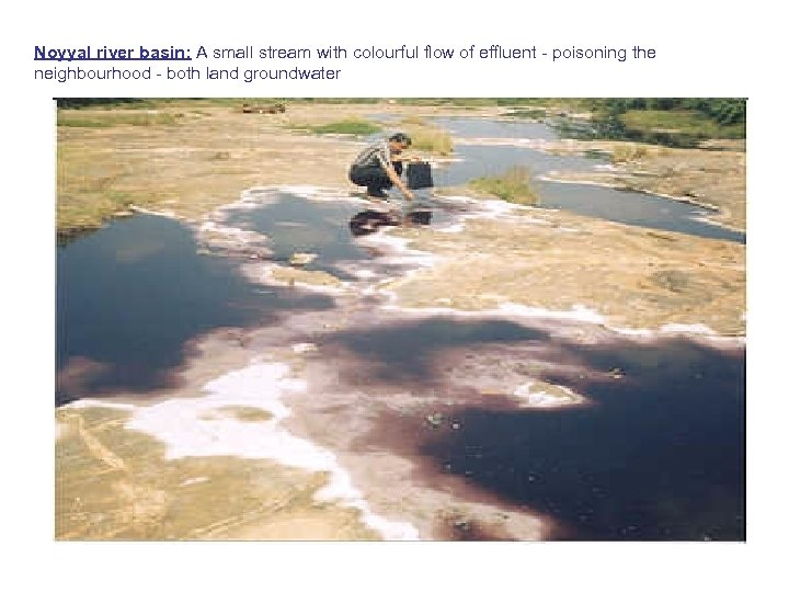 Noyyal river basin: A small stream with colourful flow of effluent - poisoning the