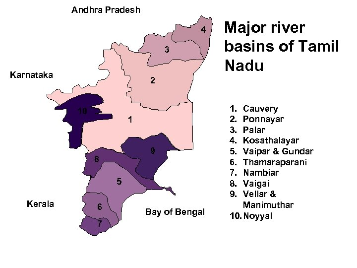 Andhra Pradesh 4 3 Karnataka 2 10 1 9 8 5 Kerala Major river
