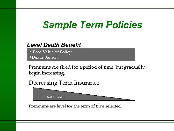 Sample Term Policies Level Death Benefit • Face Value of Policy • Death Benefit