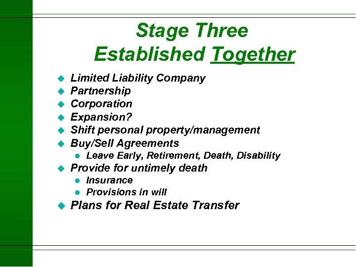 Stage Three Established Together u u u Limited Liability Company Partnership Corporation Expansion? Shift