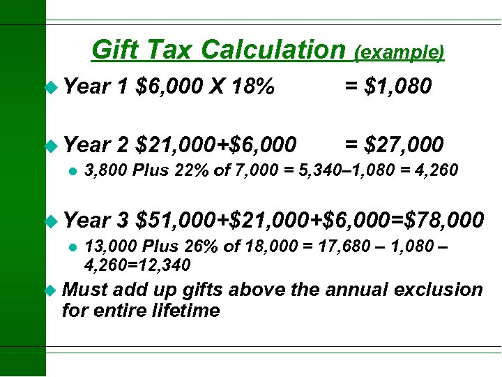 Gift Tax Calculation (example) u Year 1 $6, 000 X 18% = $1, 080