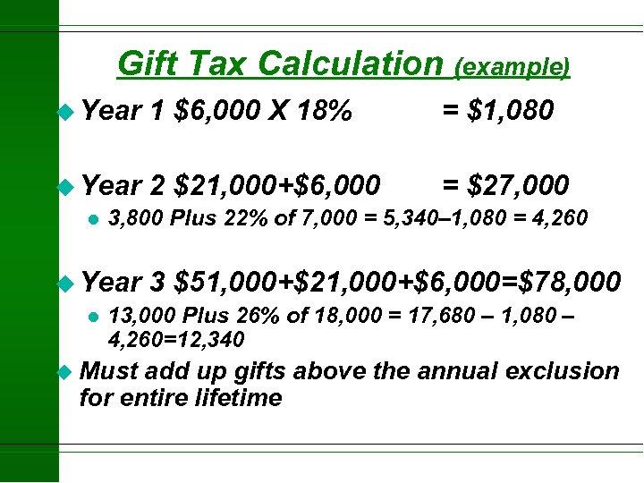 Gift Tax Calculation (example) u Year 1 $6, 000 X 18% = $1, 080