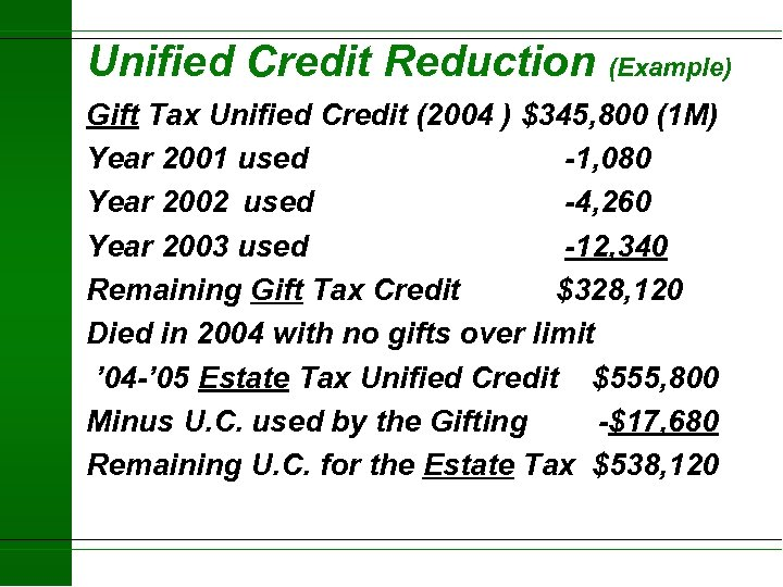 Unified Credit Reduction (Example) Gift Tax Unified Credit (2004 ) $345, 800 (1 M)