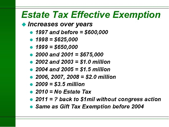 Estate Tax Effective Exemption u Increases l l l over years 1997 and before