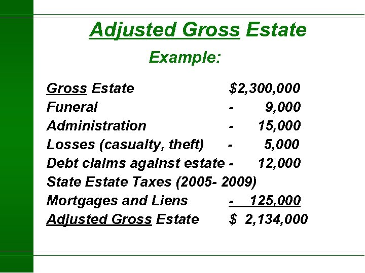 Adjusted Gross Estate Example: Gross Estate $2, 300, 000 Funeral 9, 000 Administration 15,