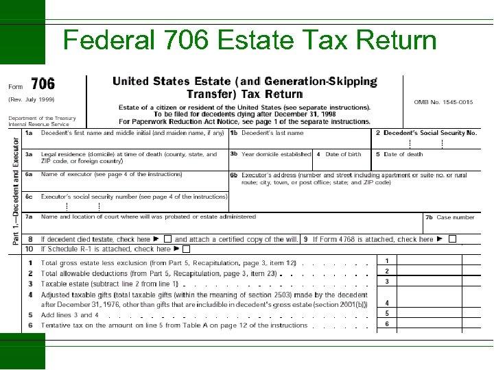 Federal 706 Estate Tax Return