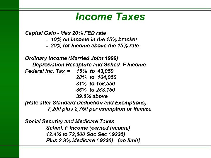 Income Taxes Capital Gain - Max 20% FED rate - 10% on Income in