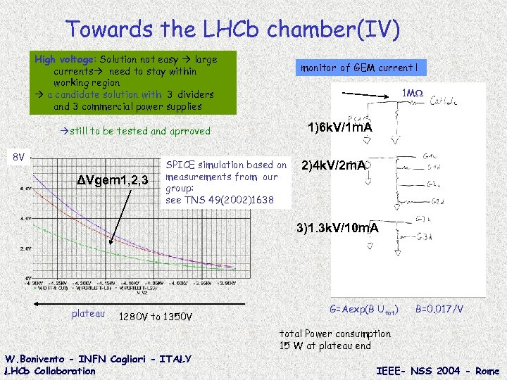 Towards the LHCb chamber(IV) High voltage: Solution not easy large currents need to stay