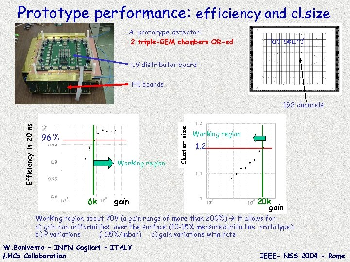 Prototype performance: efficiency and cl. size A protorype detector: 2 triple-GEM chambers OR-ed Pad