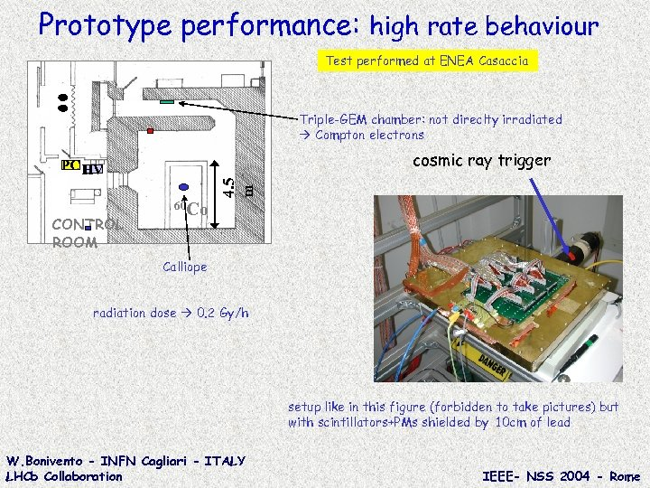 Prototype performance: high rate behaviour Test performed at ENEA Casaccia Triple-GEM chamber: not direclty
