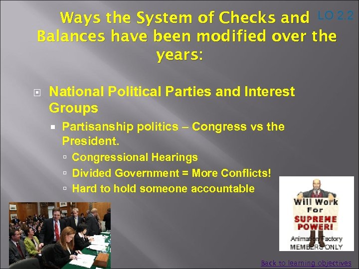 Ways the System of Checks and LO 2. 2 Balances have been modified over