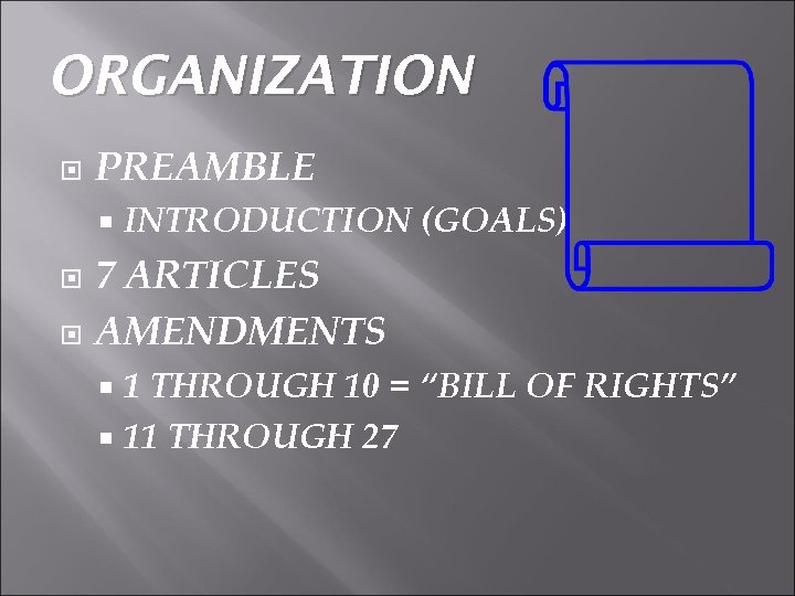 "ORGANIZATION PREAMBLE INTRODUCTION (GOALS) 7 ARTICLES AMENDMENTS 1 THROUGH 10 = ""BILL OF RIGHTS"""