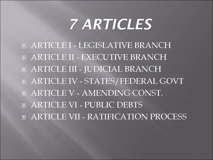 7 ARTICLES ARTICLE I - LEGISLATIVE BRANCH ARTICLE II - EXECUTIVE BRANCH ARTICLE III