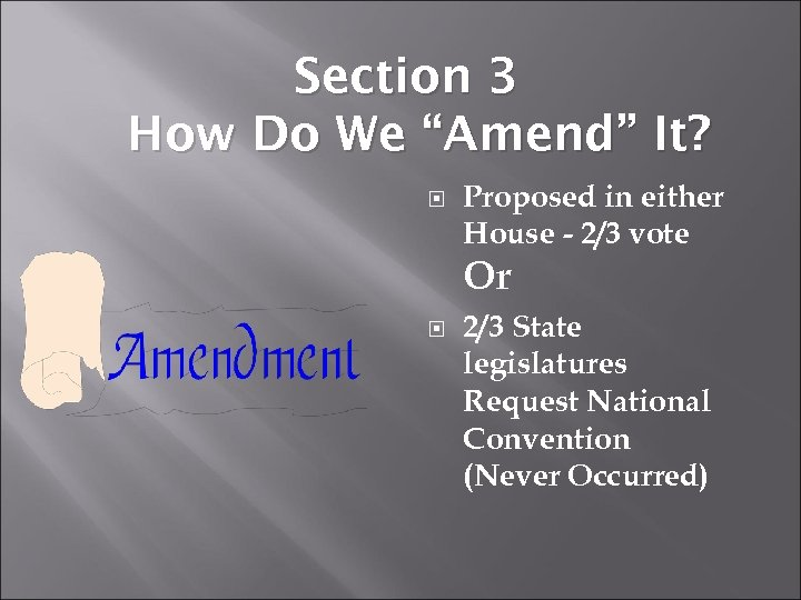 "Section 3 How Do We ""Amend"" It? Proposed in either House - 2/3 vote"