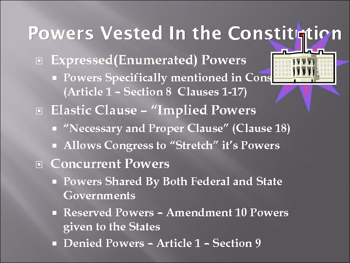 Powers Vested In the Constitution Expressed(Enumerated) Powers Specifically mentioned in Constitution (Article 1 –