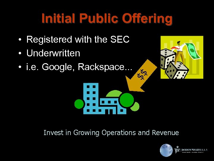 Initial Public Offering $$ • Registered with the SEC • Underwritten • i. e.