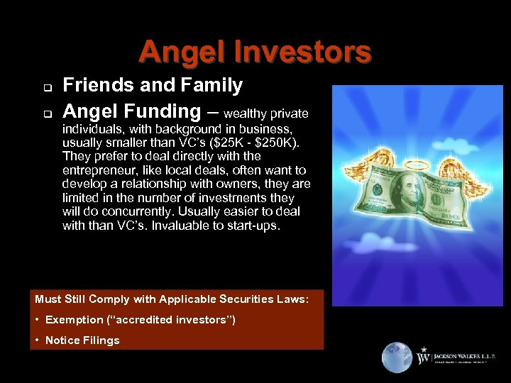 Angel Investors q q Friends and Family Angel Funding – wealthy private individuals, with