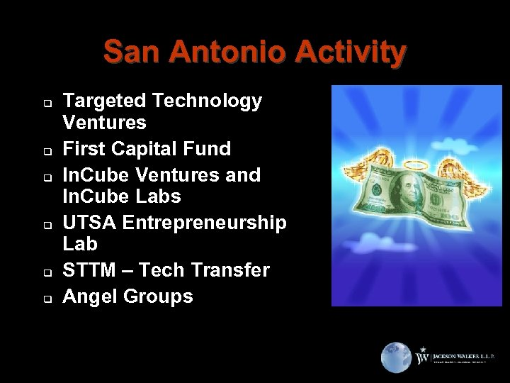 San Antonio Activity q q q Targeted Technology Ventures First Capital Fund In. Cube