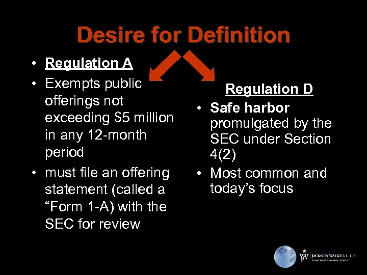 Desire for Definition • Regulation A • Exempts public offerings not exceeding $5 million