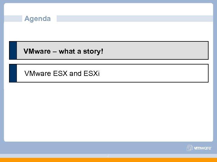 Agenda VMware – what a story! VMware ESX and ESXi 4