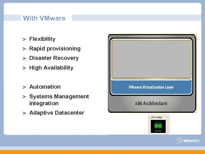 With VMware Flexibility Rapid provisioning Disaster Recovery High Availability Automation Systems Management integration Adaptive
