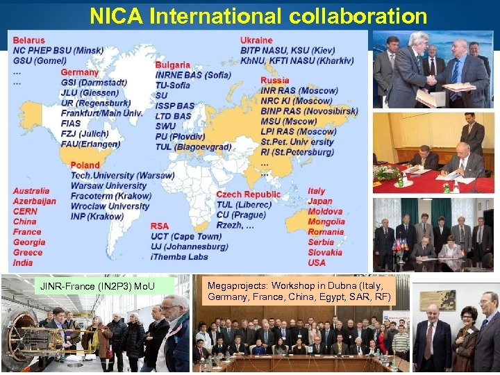 NICA International collaboration JINR-France (IN 2 P 3) Mo. U Page 3 Megaprojects: Workshop