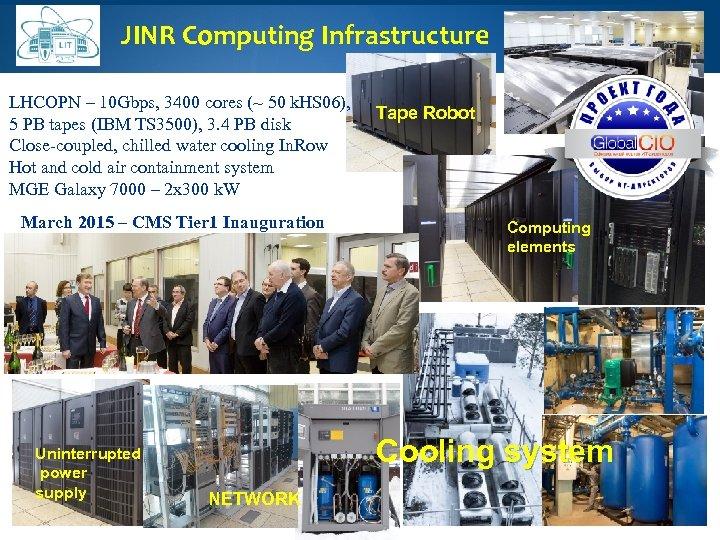 JINR Computing Infrastructure LHCOPN – 10 Gbps, 3400 cores (~ 50 k. HS 06),