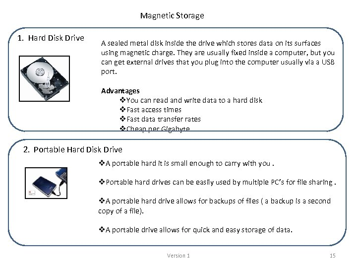 Magnetic Storage 1. Hard Disk Drive A sealed metal disk inside the drive which