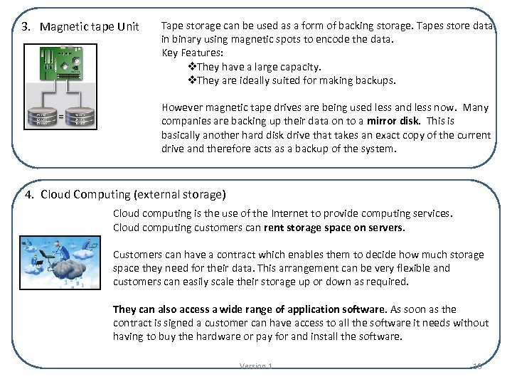 3. Magnetic tape Unit Tape storage can be used as a form of backing