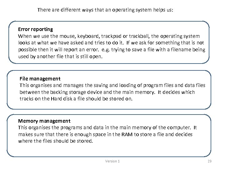 There are different ways that an operating system helps us: Error reporting When we