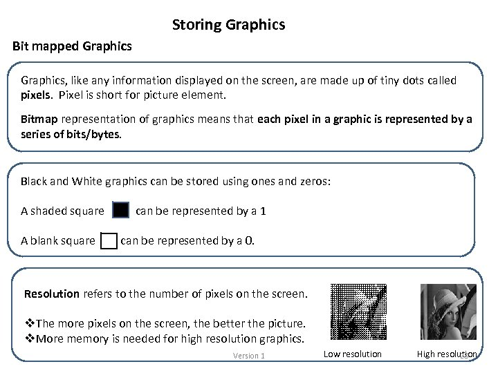 Storing Graphics Bit mapped Graphics, like any information displayed on the screen, are made
