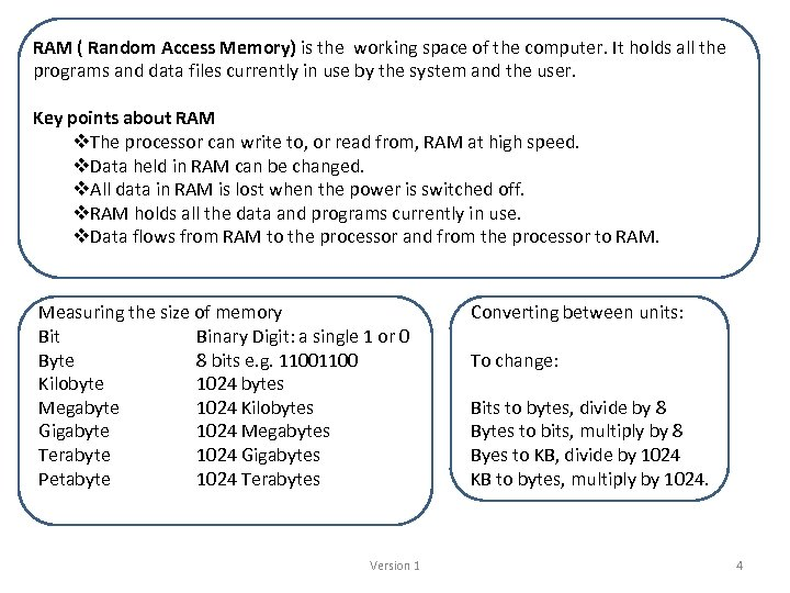 RAM ( Random Access Memory) is the working space of the computer. It holds