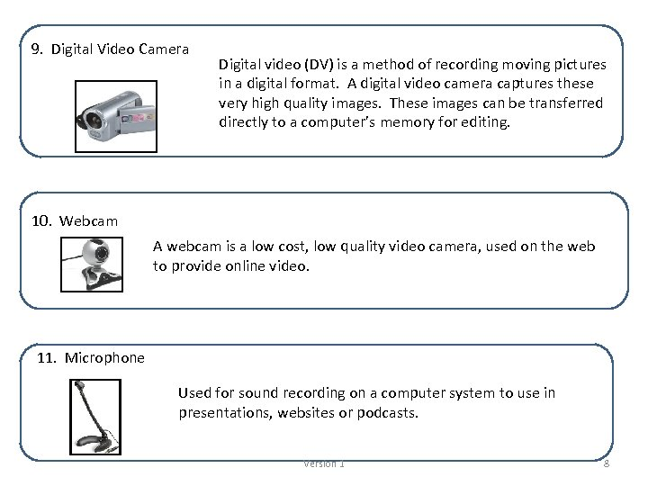 9. Digital Video Camera Digital video (DV) is a method of recording moving pictures