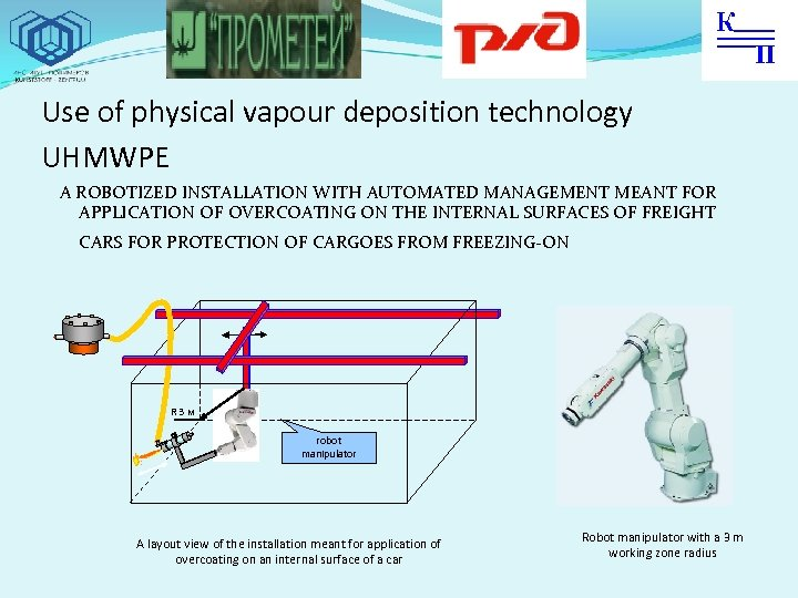 Use of physical vapour deposition technology UHMWPE A ROBOTIZED INSTALLATION WITH AUTOMATED MANAGEMENT MEANT