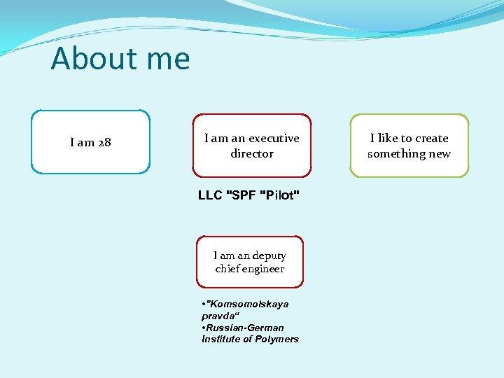 About me I am 28 I am an executive director LLC