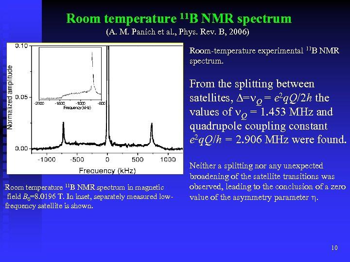 Room temperature 11 B NMR spectrum (A. M. Panich et al. , Phys. Rev.