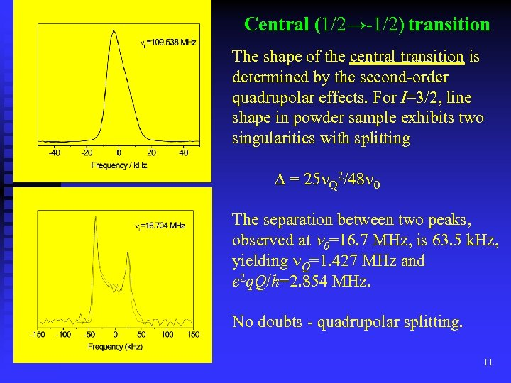Central (1/2→-1/2) transition The shape of the central transition is determined by the second-order