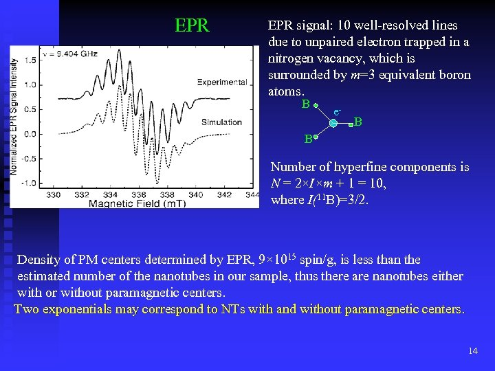 EPR signal: 10 well-resolved lines due to unpaired electron trapped in a nitrogen vacancy,