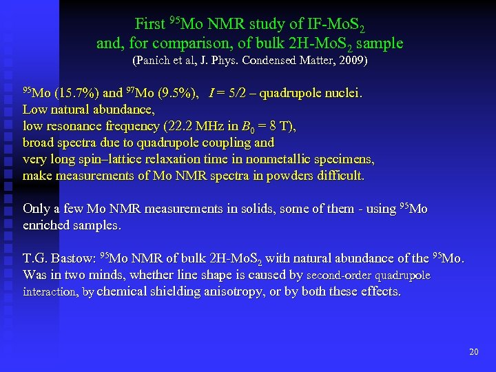 First 95 Mo NMR study of IF-Mo. S 2 and, for comparison, of bulk